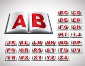 Alphabet concept in book — Stock Vector