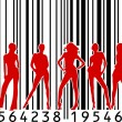 Woman silhouettes with barcode background — Stock Vector