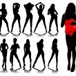 Sexy woman silhouettes - Imagen vectorial