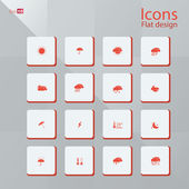 Flat icon set for Weather concepts — Stock Vector