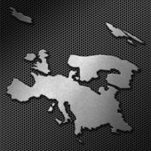 Europe map on metal background — Stock Photo