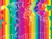 World map with countries and colored timezones — Vetorial Stock