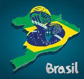 Brazil map card FIFA World Cup — Stock Vector