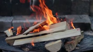 Spalování dřeva v krbu — Stock video