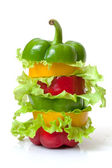 Mixed Bell Pepper with Lettuce — Stock Photo