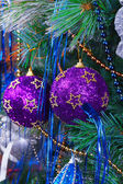 Christmas Tree Decorated with Bright Toys — Стоковое фото