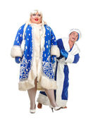 Travesty Actors Genre Depict Santa Claus and Snow Maiden — Stock Photo