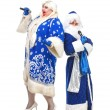 Travesty Actors Genre Depict Santa Claus and Snow Maiden — Stock Photo