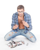 Fashion conscious man with glasses — Stock Photo