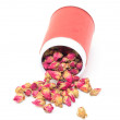Dried Rosebuds in red can — Stock Photo