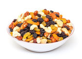 Mixture of nuts and raisins in bowl — Stock Photo