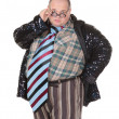 Foto Stock: Obese mwith outrageous fashion sense