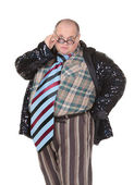 Obese man with an outrageous fashion sense — Stock Photo