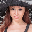 Stock Photo: Portrait of Beautiful Lady in a Lace Hat