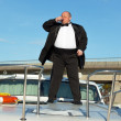 Fat man in tuxedo with glass wine — Foto de Stock