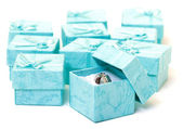 Cyan gift boxes with ring — Stock Photo