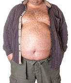 Fat man with a big belly — Stock Photo