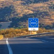 Road sign on the border, Spain — Stock Photo