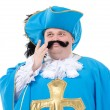 Musketeer in turquoise blue uniform — Stock Photo #37131343
