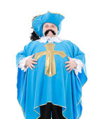 Musketeer in turquoise blue uniform — Stock Photo
