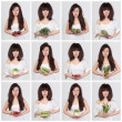 Collage young beautiful woman with the fresh vegetables — Stockfoto