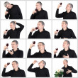 Collage Man tasting a glass of red port wine — Stock Photo #38165419