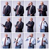 Collage portrait of a successful senior man — Stock Photo