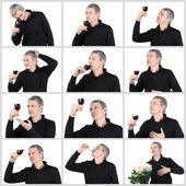 Collage Man tasting a glass of red port wine — Stock Photo
