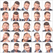 Collage portrait unshaved handsome man with difference emotions — Stock Photo