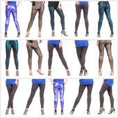 Collage woman's sexy legs and buttocks clad in shimmering leggin — Stock Photo