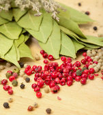 Dry bay laurel leaf with multicolored peppercorn — Stock Photo