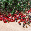 Stock Photo: Dry thyme with multicolored peppercorn