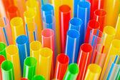 彩色的塑料饮用吸管特写 — 图库照片