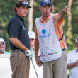 Phil Michelson and his caddy at the 2012 Barclays. — Stock Photo