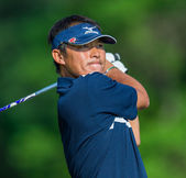 Yui Ueda hits a drive at at the 2013 US Open — Stock Photo