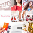 shopping collage — Foto Stock