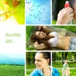 Healthy life collage — Stockfoto
