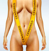 Body with yellow censorship tapes — Stock Photo