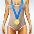 Body with gold medal - Stock Photo
