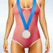 Stock Photo: Beautiful woman body with medal