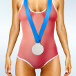 Beautiful woman body with medal - Stock Photo