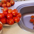 Wet tomatoes for pasteurization - Stock Photo