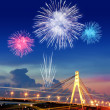 Firework over city at night - Stock Photo