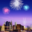 fuochi d'artificio sopra new york — Foto Stock