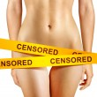 Yellow censorship tapes - Stock Photo