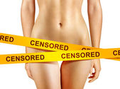 Yellow censorship tapes — Stockfoto