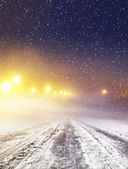 Winter road at night — Stock Photo