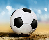 Soccer ball on ground l — Stock Photo