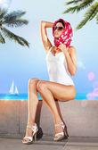 Woman in resort place — Stock Photo