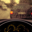 Stock Photo: Rain droplets on car windshield